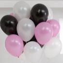шарики 3 цветов (розовые белые и черные)-30 см