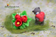 Тюльпаны + Тедди с сердцем