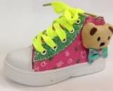 Детские кеды для девочки Tom.m на шнурках с мишкой розовые