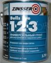 Грунт для наружных и внутренних работ акриловый белый Zinsser Bulls Eye 1-2-3, 3.78л