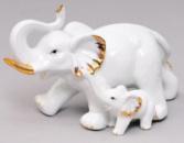 Статуэтка декоративная «Слоники» 21см, фарфор с позолотой