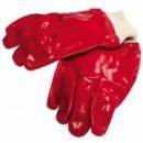 Перчатки кислотостойкие, х/б трикотаж, полное ПВХ покрытие, вязаный манжет (красные),10,5«,123-127 г MasterTool 83-0501-В