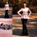 Платье макси с баской в расцветках