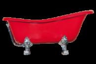 Ванна отдельно стоящая OTYLIA Отилья 170х76х71 см BESCO PMD AMBITION на львиных лапах чёрная и красная