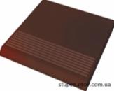 Ступень рельефная прямая гладкая CLOUD BROWN 30x30