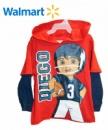 Детский реглан с капюшоном «Диего» красный с синими рукавами, бренд «Walmart» (США)