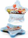 Набор 6 новогодних стеклянных тарелок «Совушки» Ø23см