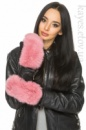 Варежки с натуральным мехом (нежно-розовый)