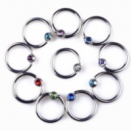 Кольца (цена за пару) сегментные 8 мм с кристаллом. Медицинская сталь.