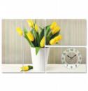 Часы настенные «Тюльпаны в кашпо» на холсте 4х секционные