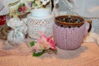 Чехол-грелка на чашку дымчато-розовый/Чохол-грілка на чашку