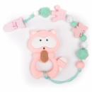 Силиконовый прорезыватель BabyMio Енот Розовый с зеленым (PRORE1)