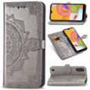Кожаный чехол (книжка) Art Case с визитницей для Samsung Galaxy A01 Серый