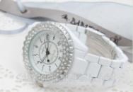 Модные наручные женские керамические часы Sinobi белые со стразами