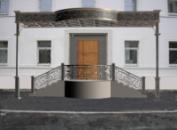 Эскиз («визуализация») кованой входной группы. Офисный центр, Киев, ул. Брюллова, 7
