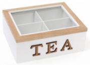 Коробка-шкатулка «I Love Tea» для чая и сахара 4-х секционная 20x18x8см