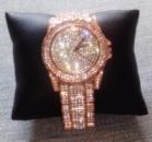 Женские часы с камнями сваровски розовое золото