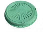 Люк смотровых колодцев полимерный зеленый тип Л (легкий), нагрузка 3 т.