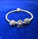 Браслет Серебряный основа с серебряными шармами цена недорого Лягушка,Черепаха и Сова