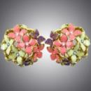 Серьги разноцветные цветы