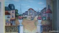 Роспись стен кухни в стиле французской улочки