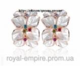 Серьги «Джесика» позолоченные, цвет белый с кристаллами.