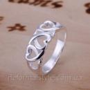 Tiffany кольцо «сердечки» (покрытие серебро 925).