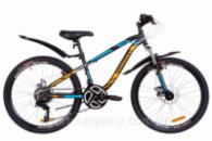 Велосипед 24« Discovery FLINT AM 14G DD St с крылом Pl 2019 (черно-синий с оранжевым (м))