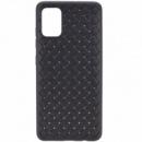 PU чехол-накладка Epik Weaving series для Samsung Galaxy A51 Черный