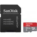 Карта памяти SanDisk Ultra microSD XC 64GB class 10 UHS-I SD адаптер