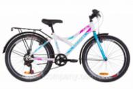 Велосипед 24« Discovery FLINT MC 14G Vbr St с багажником зад St, с крылом St 2019 (бело-голубой с розовым)