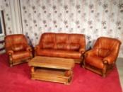 Комплект кожаной мягкой мебели на массивном дубовом каркасе из Голандии