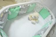 Бортики-подушечки «Мята+короны»