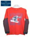 Лонгслив (пайта, реглан) детский красный с синим рукавом в полоску «Скейтборд», бренд «Faded Glory» (США)