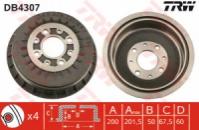 Задний тормозной барабан TRW DB4307 ВАЗ 2108-70