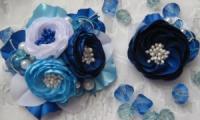 Комплект заколка и брошка сине-голубые розы