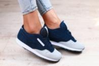 Женские кроссовки, замшевые, сине-серые