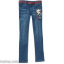 Faded Glory Girls' Embellished Belted Skinny Denim Jeans