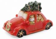 Декор новогодний «Санта в машине» 23.5х10х11.5см фарфор с LED-подсветкой
