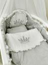 Комплект постельного 8в1 в овальную кроватку Корона+горох ХИТ