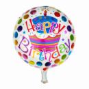 Фольгированный шар Happy Birthday с тортом