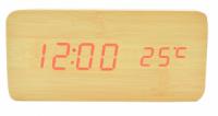Часы VST 862 светлое дерево (красная подсветка)