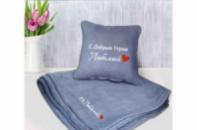 Набор подушка и плед с вышивкой С добрым утром, Любимый! Серый