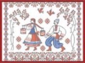 Украинское село канва с нанесенным рисунком (рисунок смываемый)
