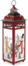 Новогодний фонарь-подсвечник «Снеговики» 13х13х38.5см, красный