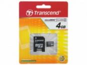 MicroSD 4Gb HC4 Transcend +перехідник на SD