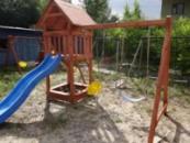Детский игровой комплекс №8 с песочницей с горкой и качелями