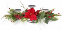 Подсвечник новогодний «Хвоя с красными ягодами» на 3 свечи