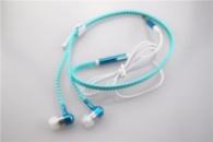 Наушники на молнии Zipper Earphones (с микрофоном) голубые