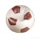Бело-коричневое кресло-мяч из кожзама